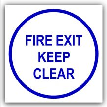 1 x Fire Exit Keep Clear-Door Health and Safety Warning Sticker Sign-87mm,Blue on White-Health and Safety Security Door Warning Sticker Sign-87mm